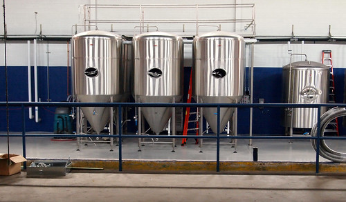 Five fermenters and a bright tank