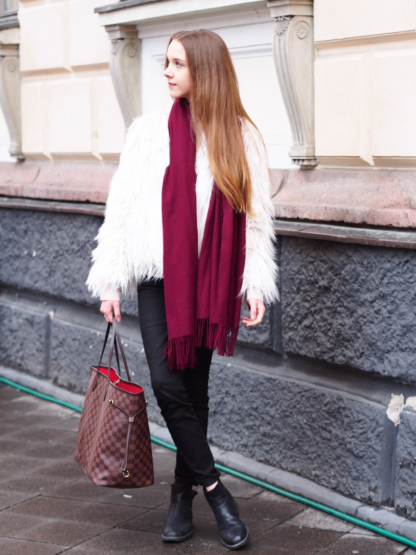 faux fur jacket outfit