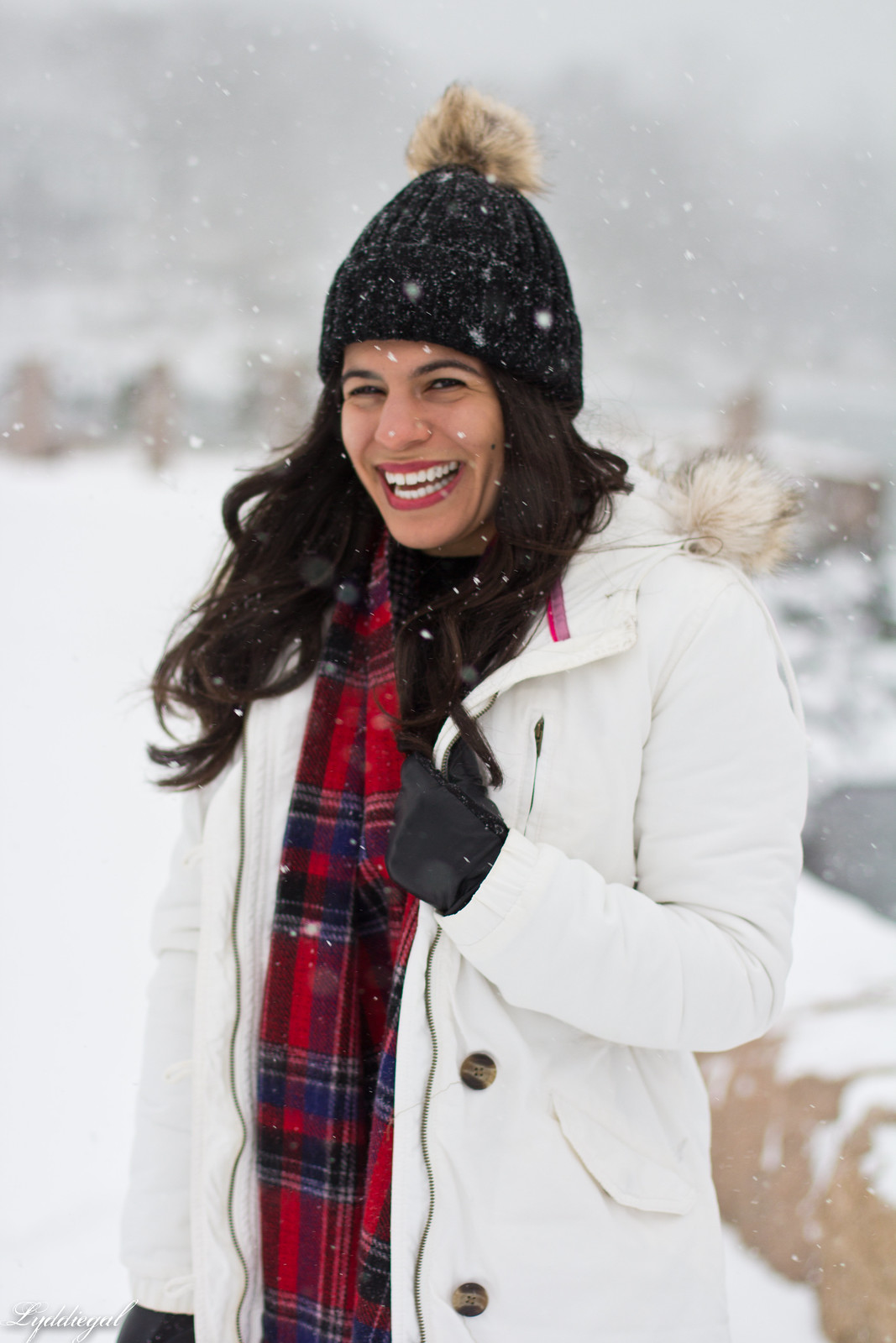 snow outfit, white parka, plaid scarf, pom hat-4.jpg