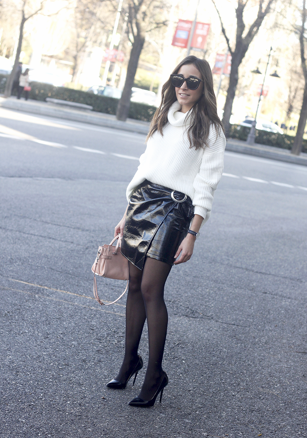 Black Patent leather skirt white sweater coach bag heels outfit style fashion winter08