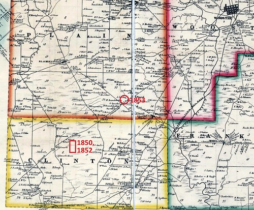 Detail Bakers map of Wayne Co OH 1856