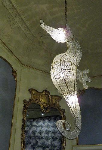 A seahorse chandelier in the Escher Museum in Den Haag, Holland