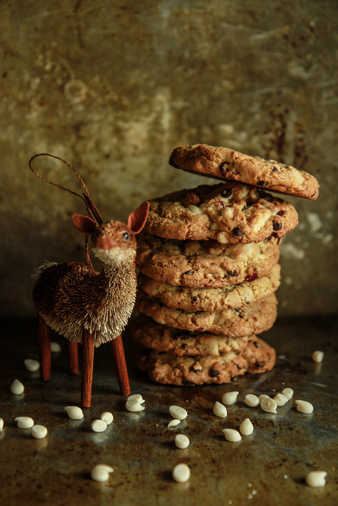 White Chocolate, Dark Chocolate Cranberry Cookies- Vegan and Gluten Free