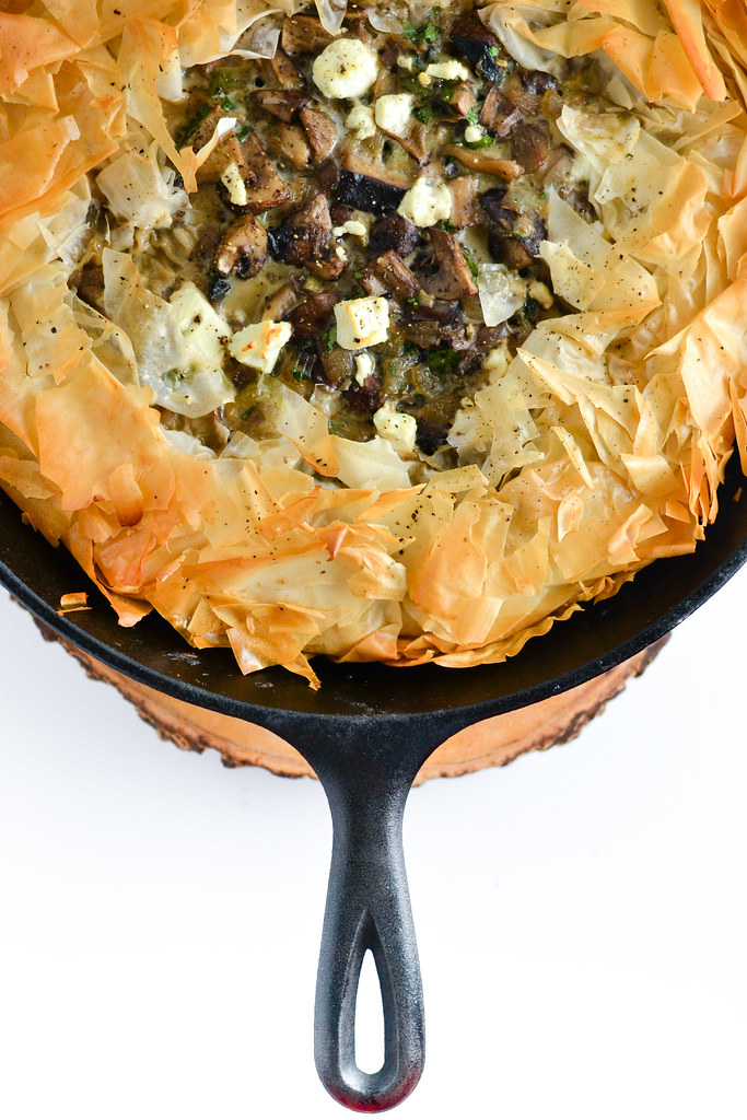 Skillet Phyllo Pie with Mushrooms and Goat Cheese | Things I Made Today