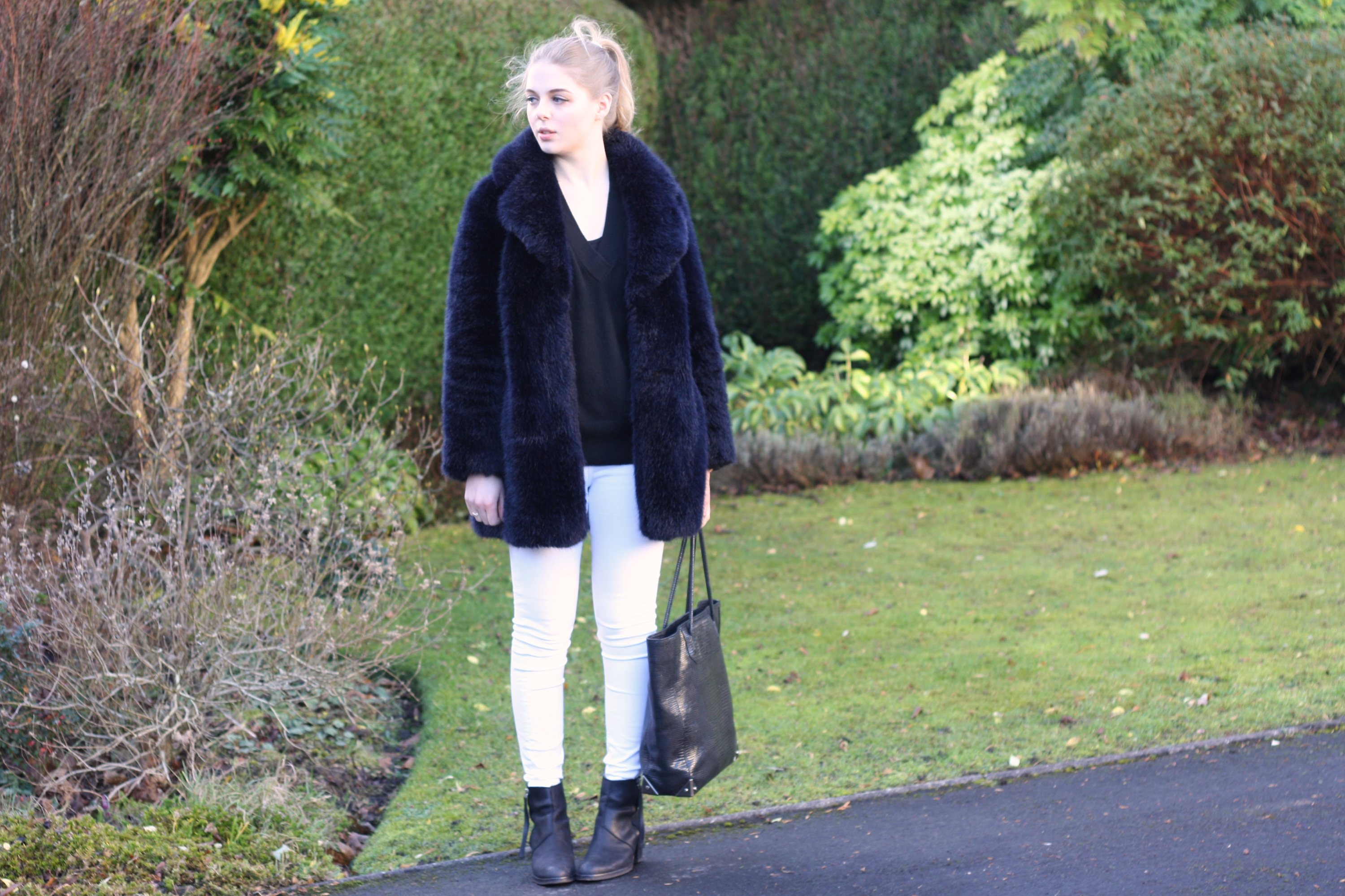 Whistles blue fur coat, & Other Stories black cashmere sweater, Alexander Wang Prisma tote