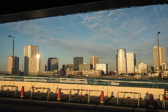 晴海大橋から見える豊洲の写真