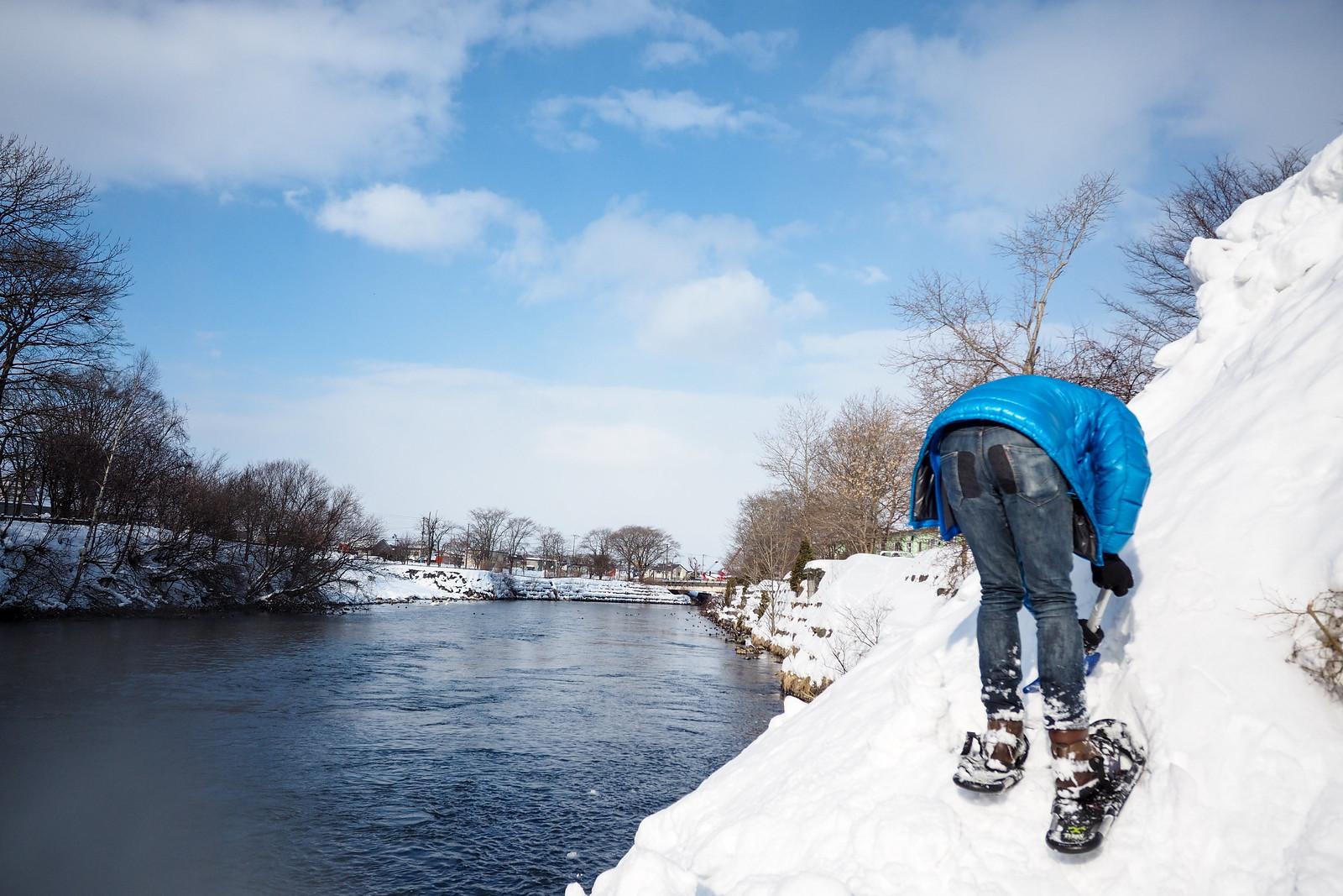 Snowshoeing along the Chitose River (Hokkaido, Japan)