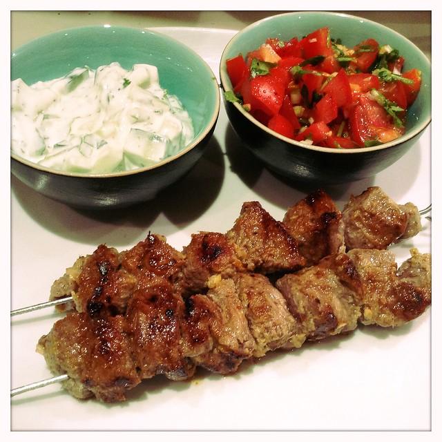 lambs kebabs, kachumbar and raita