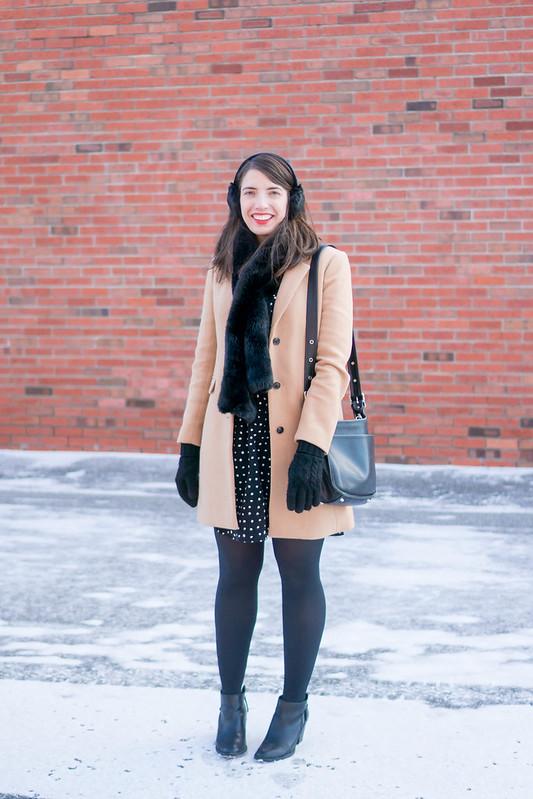 polka dot dress + black tights + black fur scarf + j.crew camel coat + black ankle boots; winter work outfit | Style On Target blog