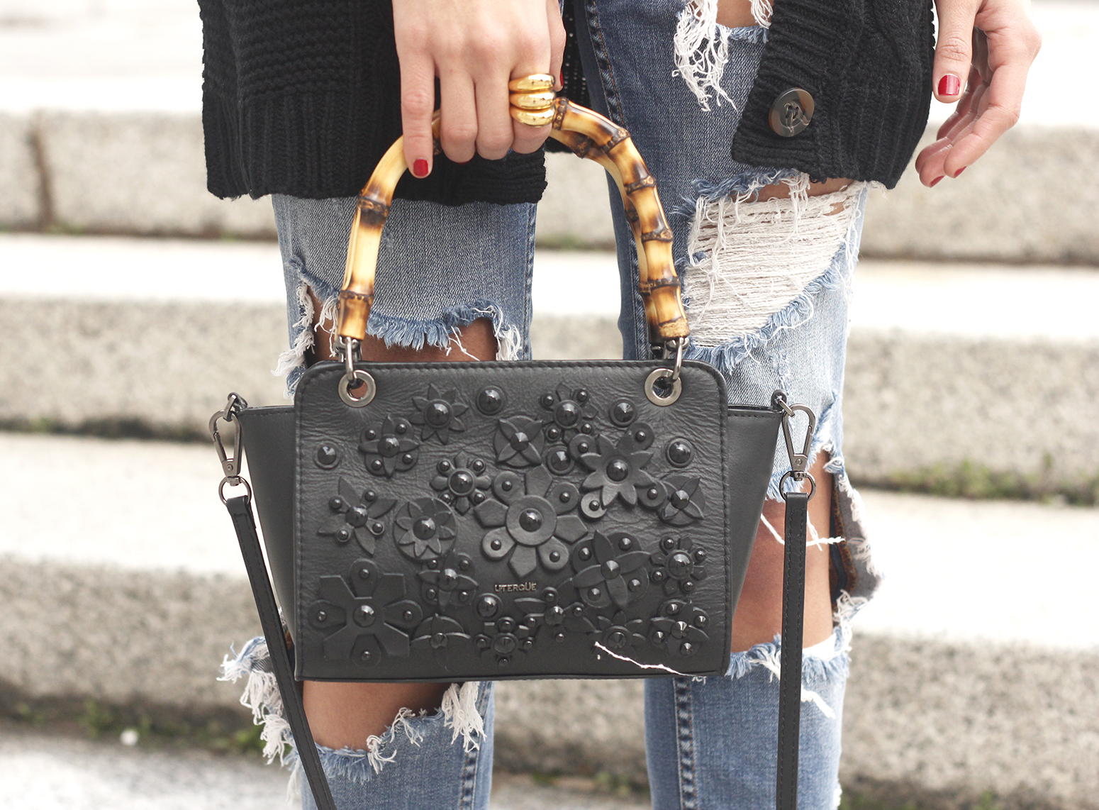black lace top ripped jeans black cardigan uterqüe bag accessories outfit style fashion heels19