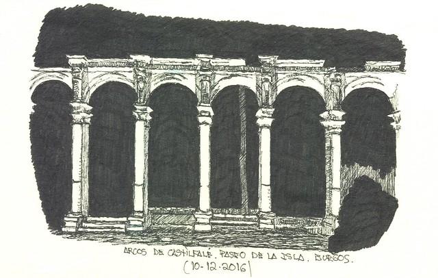 Burgos. Paseo de la Isla. Arcos de Castilfalé