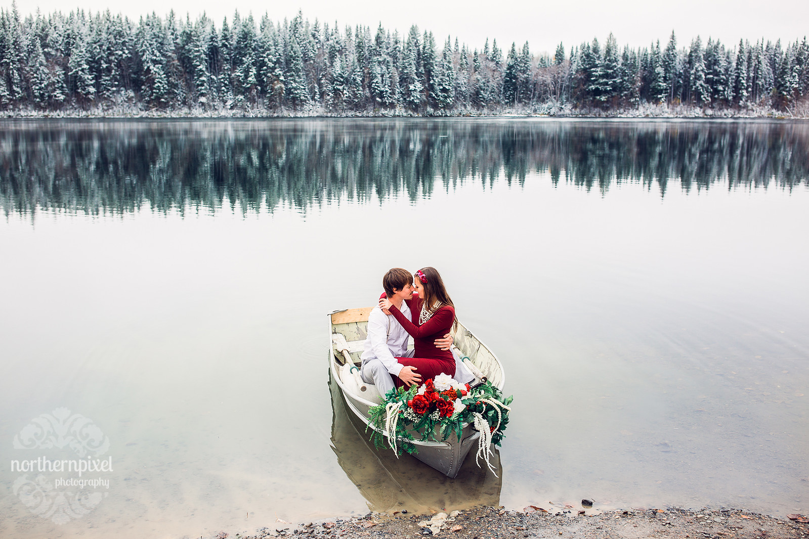 Winter Rowboat Engagement Session Prince George British Columbia Photographers