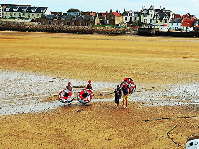Water sports participants, Elie, Fife, Scotland.
