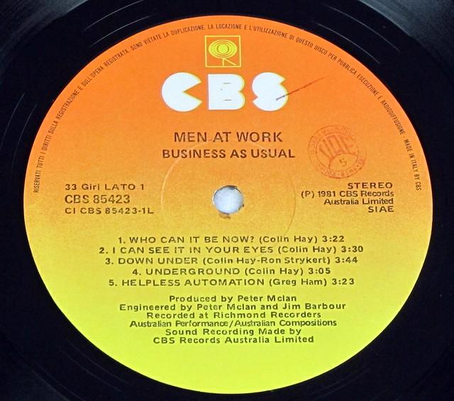 "MEN AT WORK BUSINESS AS USUAL ITALY AUSTRLIAN BLACK WHITE 12"" LP VINYL"