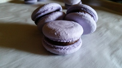 Purple Vegan macarons with coconut cream ganache