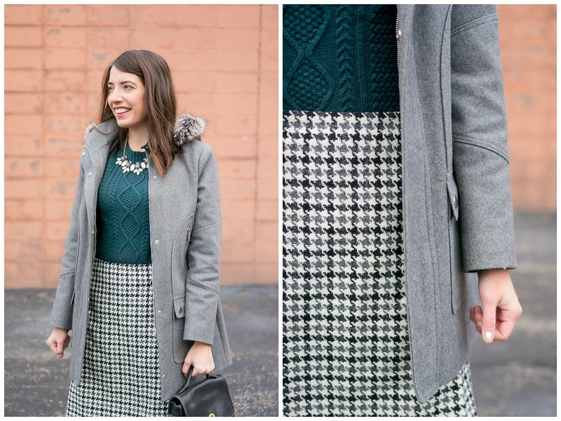 green sweater + black and gray houndstooth check skirt + gray coat + statement necklace | Style On Target blog