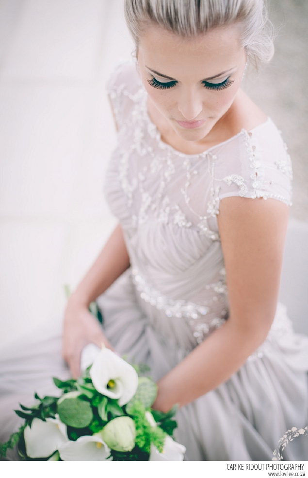 Bridal make-up by Kirsled Lash with botanical wedding bouquet