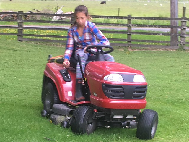 Patsy D on the mower