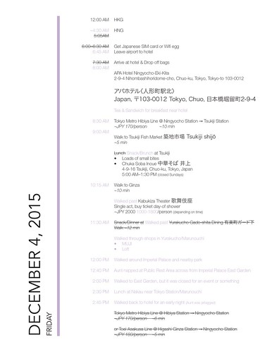 lavlilacs Japan Itinerary Dec 4 2015