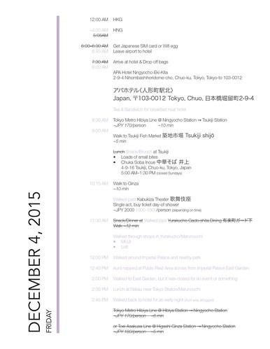 lavlilacs Japan Itinerary Dec 4 2015