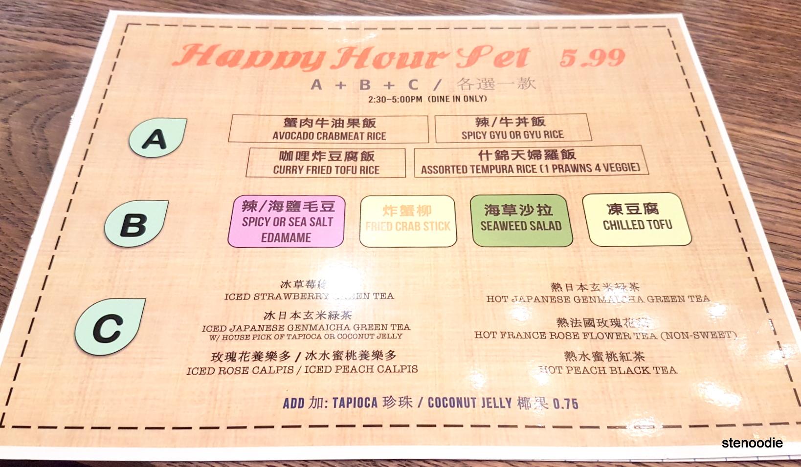 Moji Japanese Eatery new Happy hour menu