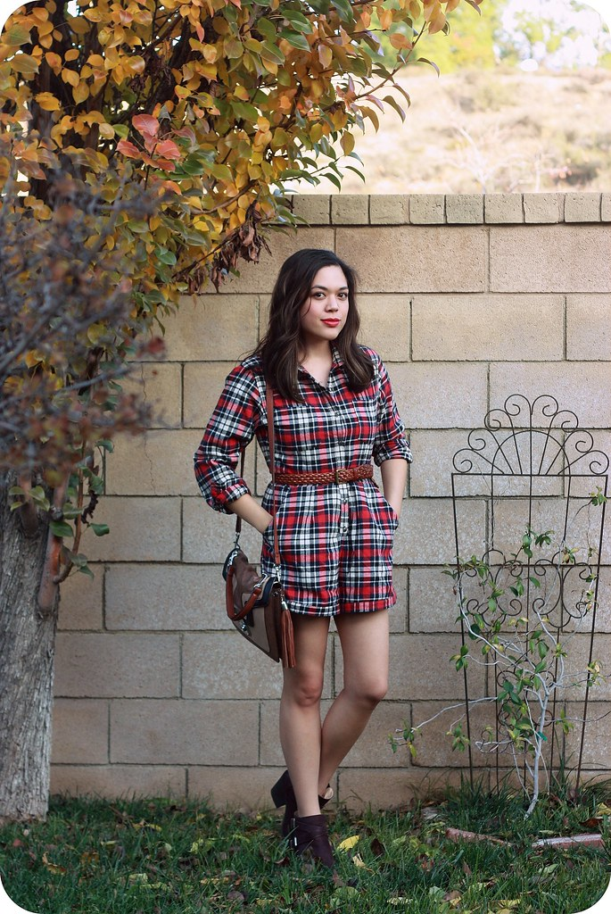 Sweets and Hearts fall winter fashion and style: outfit featuring thrifted red plaid flannel romper, Meli Melo taupe colorblock crossbody, Sole Society brown leather ankle booties, Mulberry braided leather belt