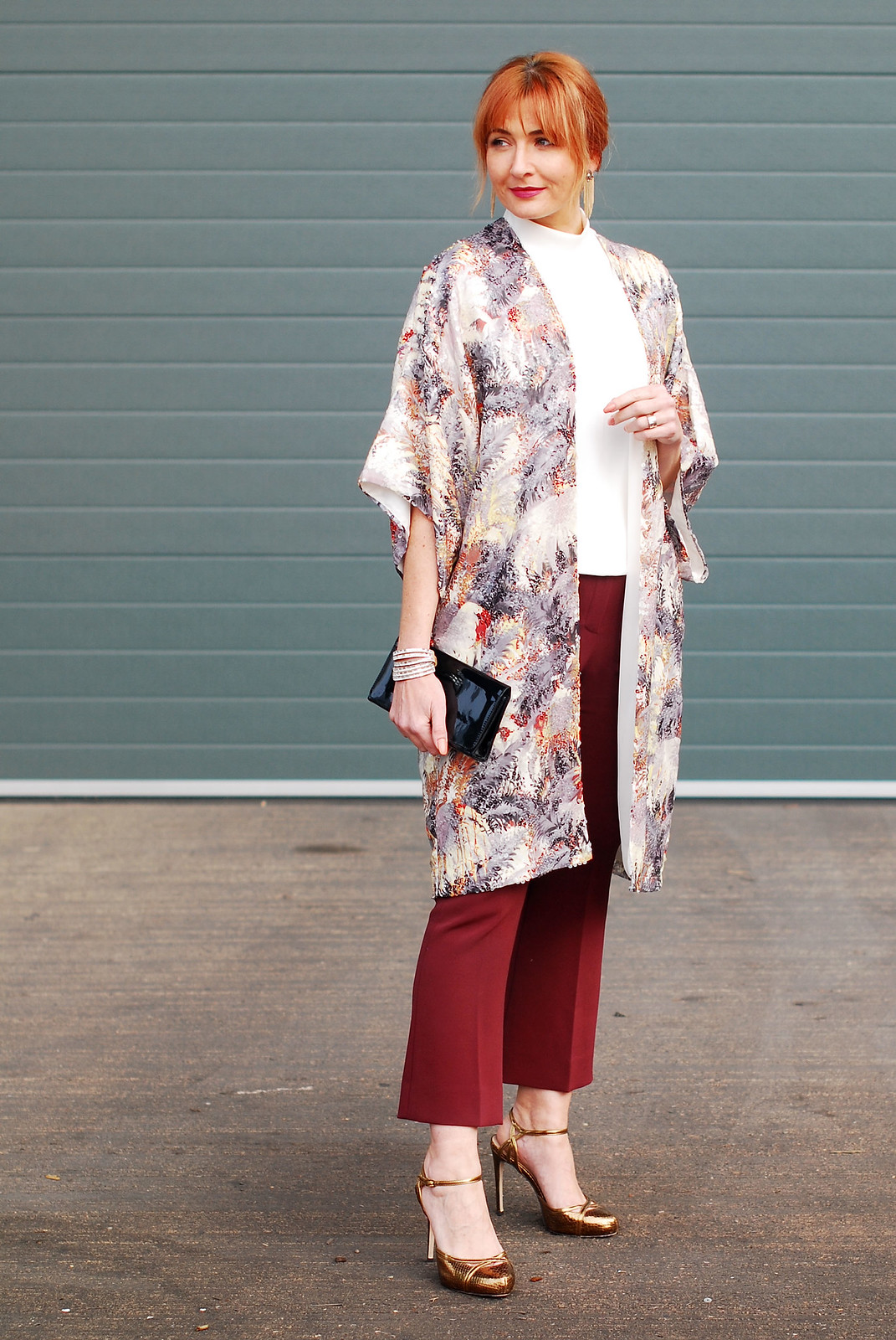 Christmas party outfit  sequinned palm print kimono  burgundy cropped flares  high neck white top  bronze, gold high heels | Not Dressed As Lamb, over 40 style