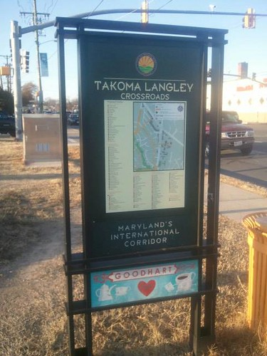 City of Takoma business directory map sign, Takoma Langley Crossroads