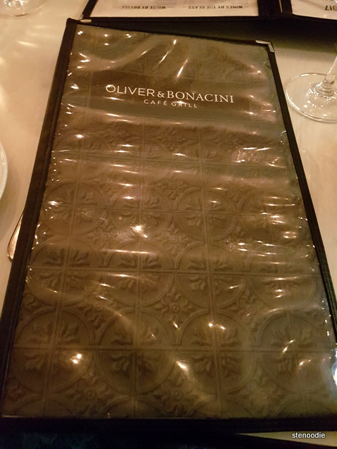 Oliver & Bonacini Café Grill Yonge & Front menu cover