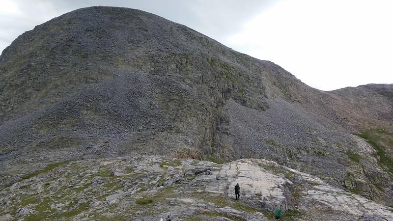 The pass between Rock Lake and Half Moon Lake at 12,500 feet elevation.