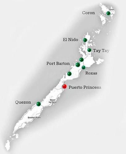 Mapa de la isla de Palawan