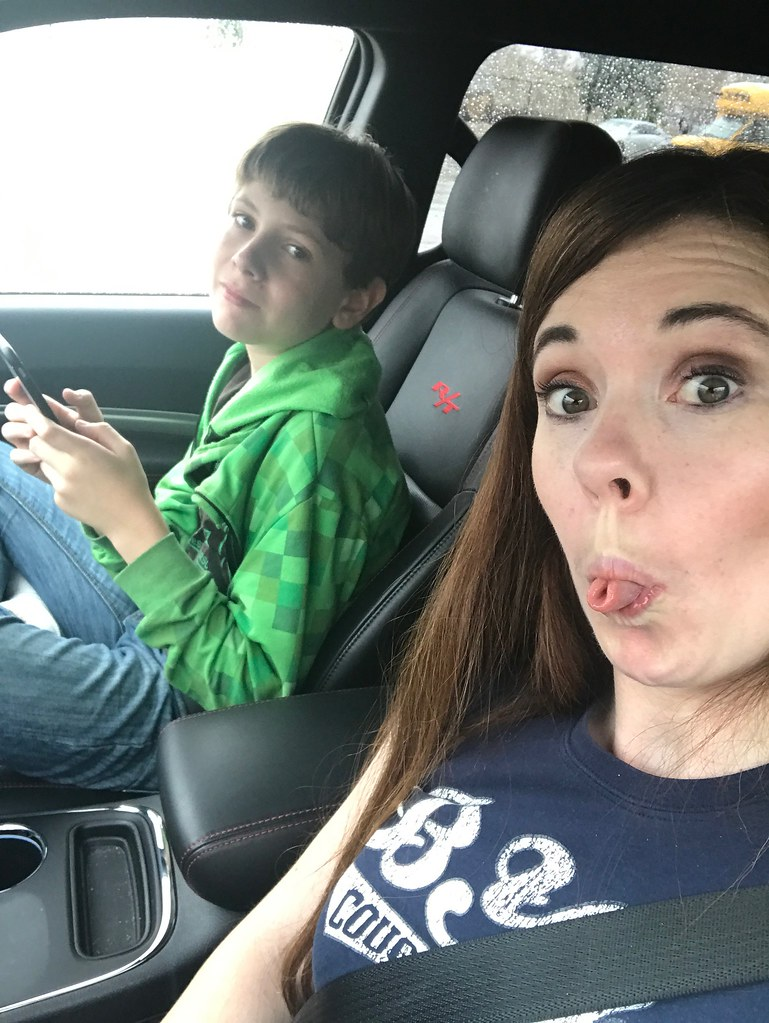 Silly faces in the car
