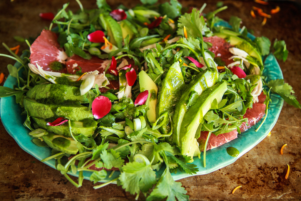 Arugula, Chicken, Grapefruit and Avocado Salad with Cilantro Vinaigrette from HeatherChristo.com