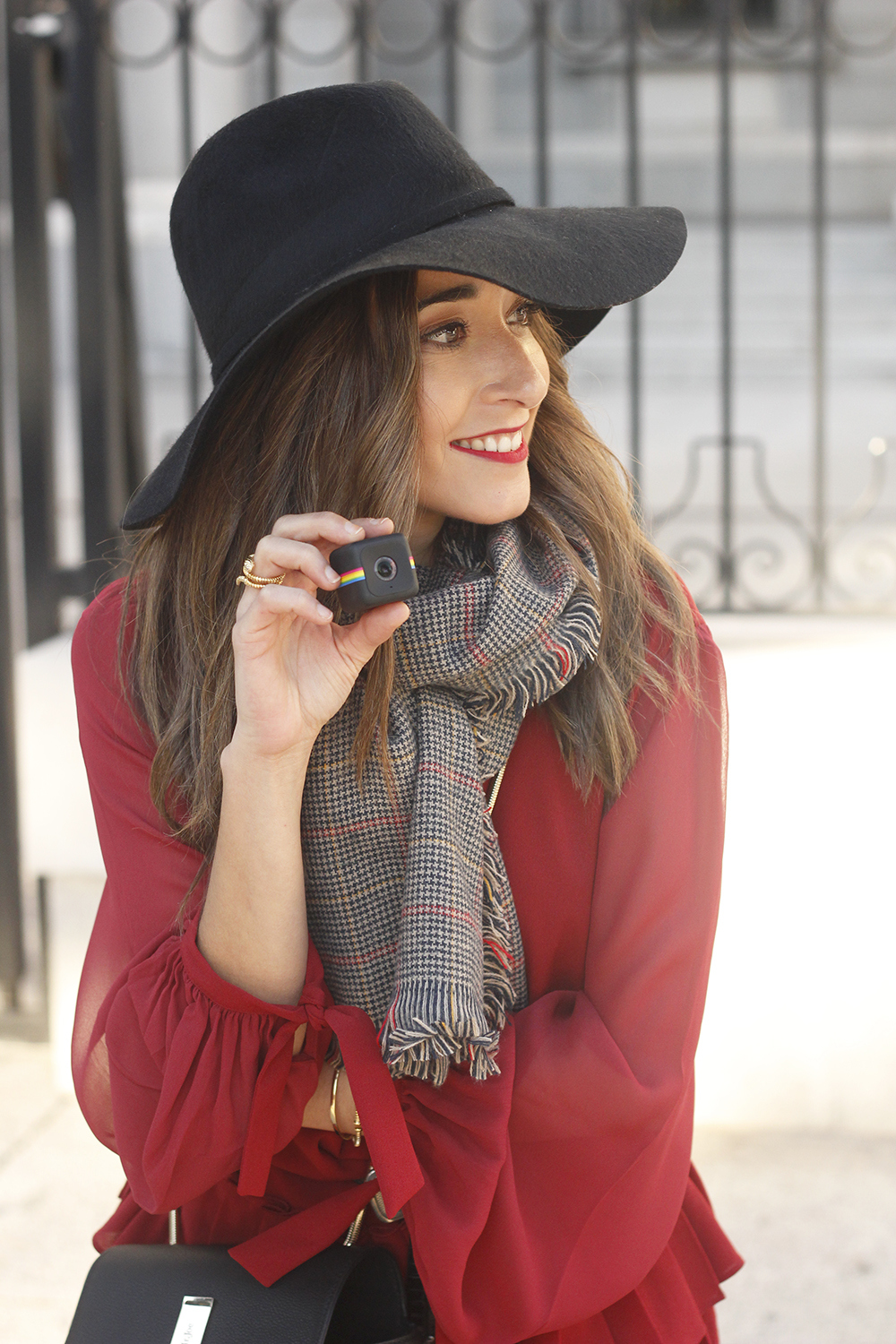 red dress black hat scarf over the knee boots Autumn essentials outfit style fashion fall07