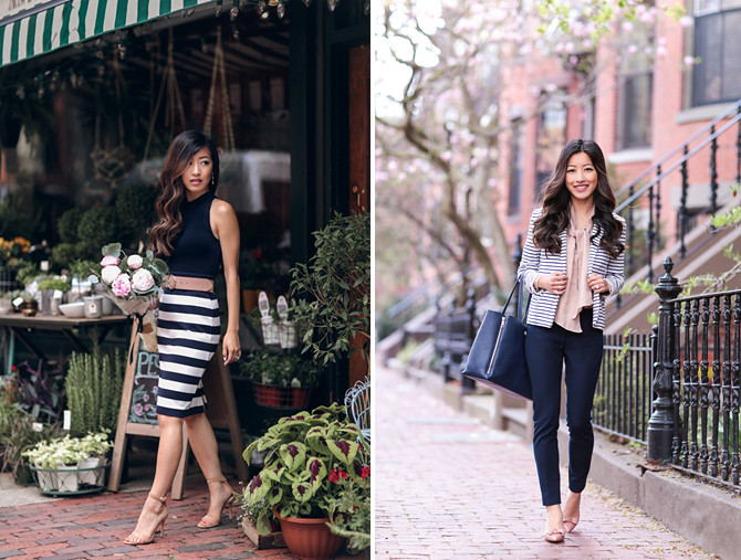 classic stripe work outfits extra petite boston blog