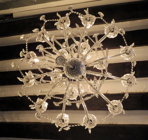 A chandelier in the Shahmeran Bar in Rouen, France