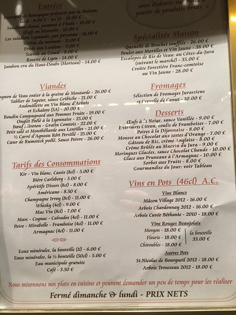 Moissonnier restaurant menu