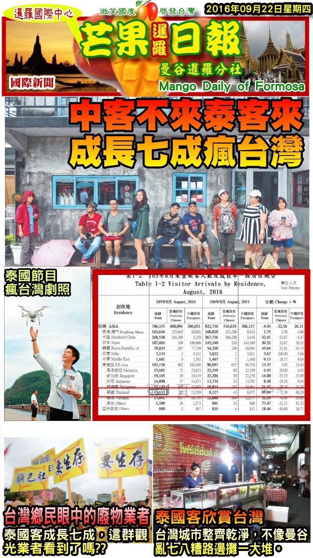 160922芒果日報--暹羅報報--中客不來泰客來,成長七成瘋台灣
