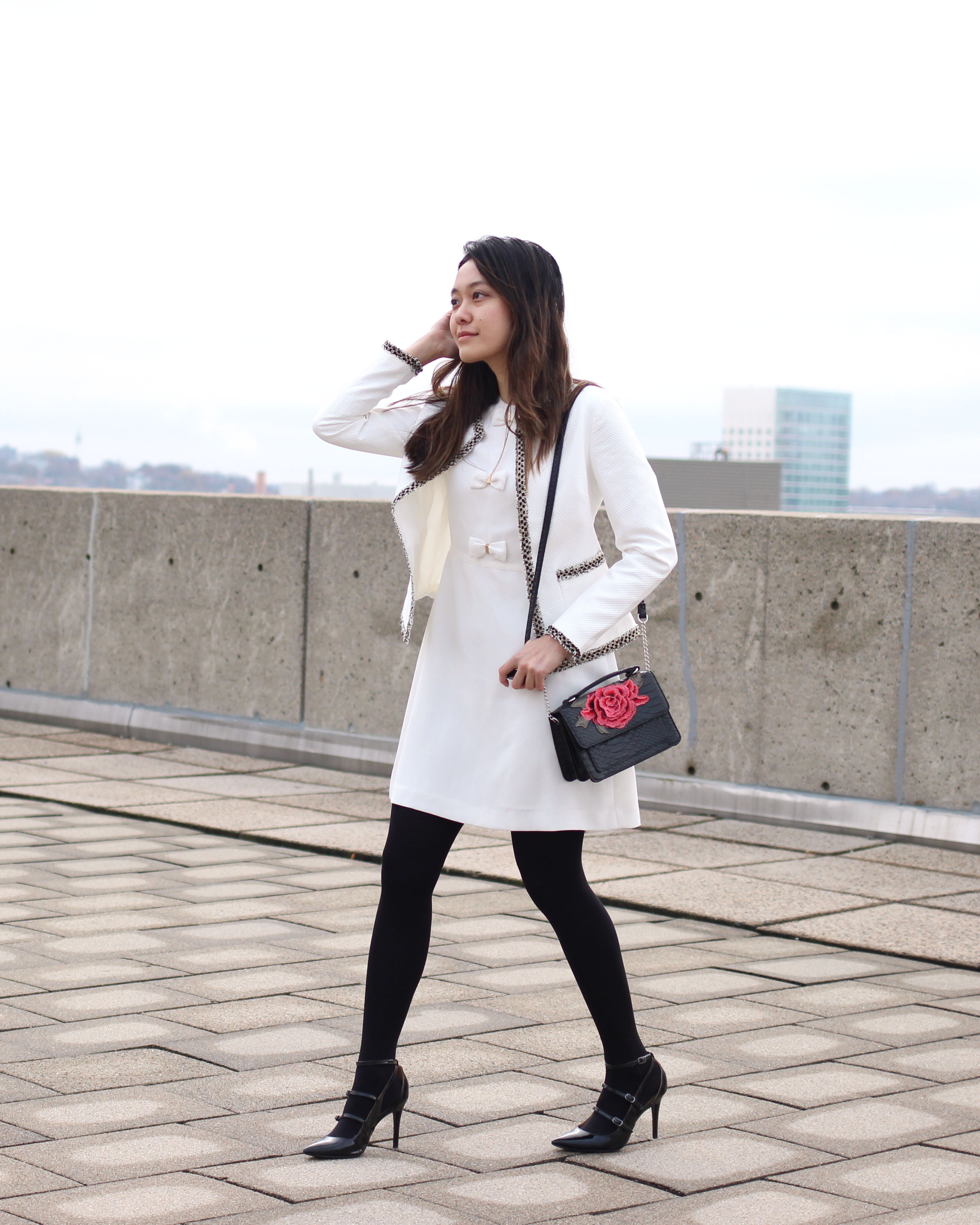 White bow detail dress and tweed jacket