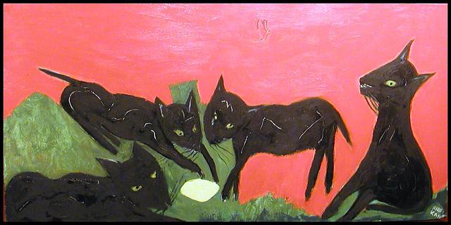 Four Black Cats With Lemon