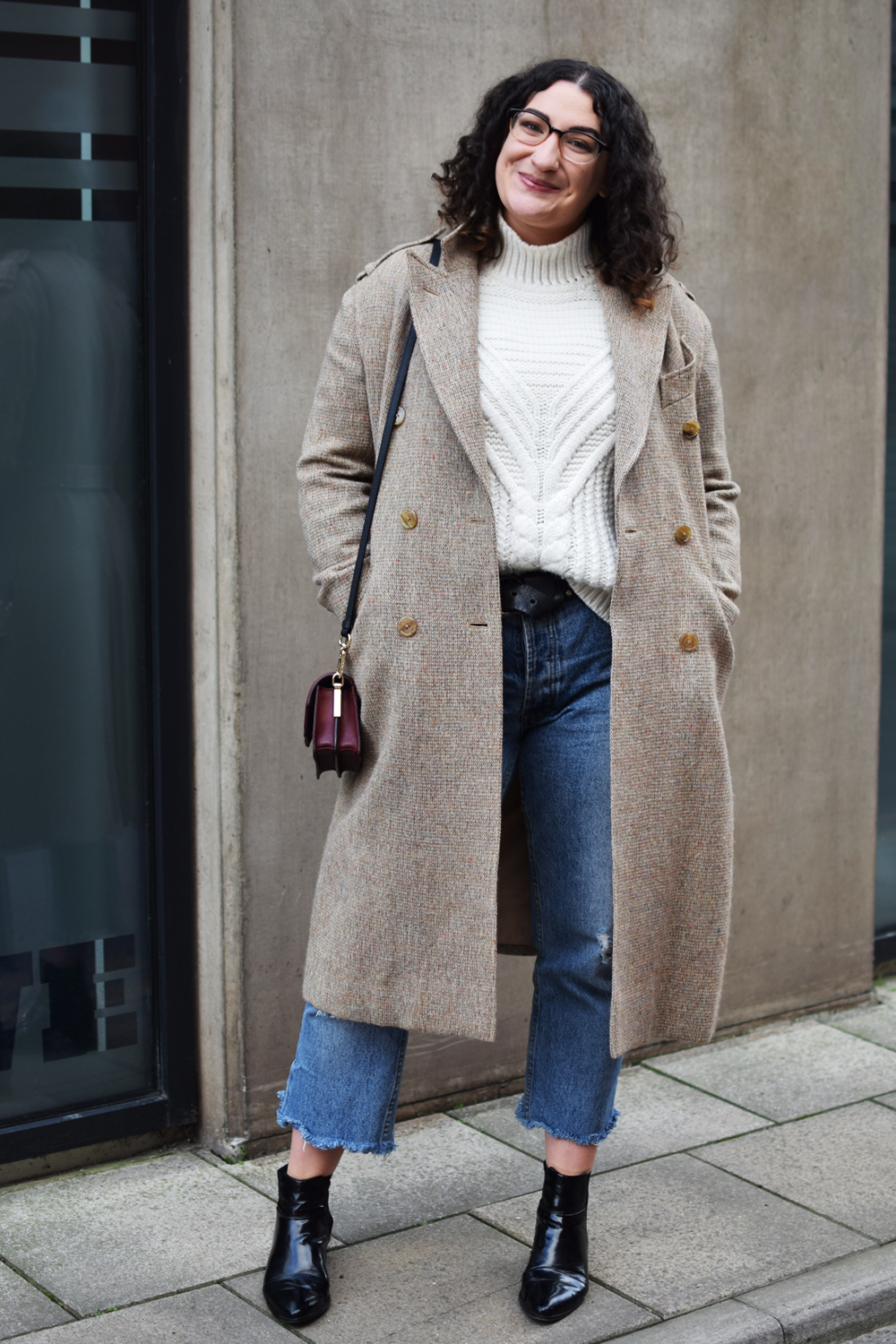long coat and cropped jeans