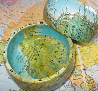 Small Bowl Map Decoupage | by Accents & Petals