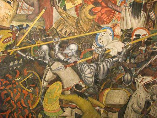 La conquista mural by diego rivera palacio nacional for Diego rivera la conquista mural