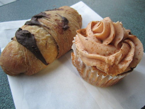 Vegan Chocolate Croissant and Pumpkin Spice Cupcake | by veganbackpacker