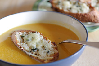 squash soup with gruyere croutons | by Madison Bistro
