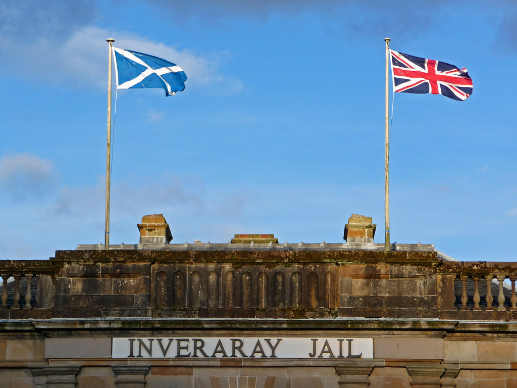 Flags over Inveraray Jail, Scotland.