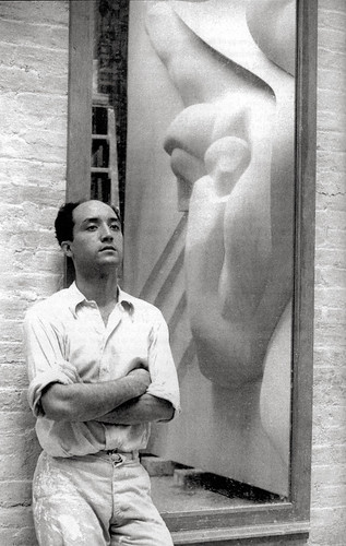 Noguchi -- standing beside reflection of plaster model for News (Associated Press Relief), c. 1939 | by Remiss63