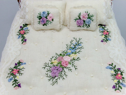 Silk ribbon embroidered dressed bed dollhouse miniature b