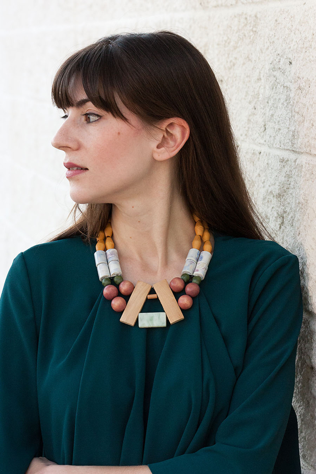 History and Industry Necklace, Teal Green Top