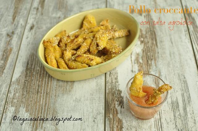 Pollo croccante al sesamo con salsa agrodolce